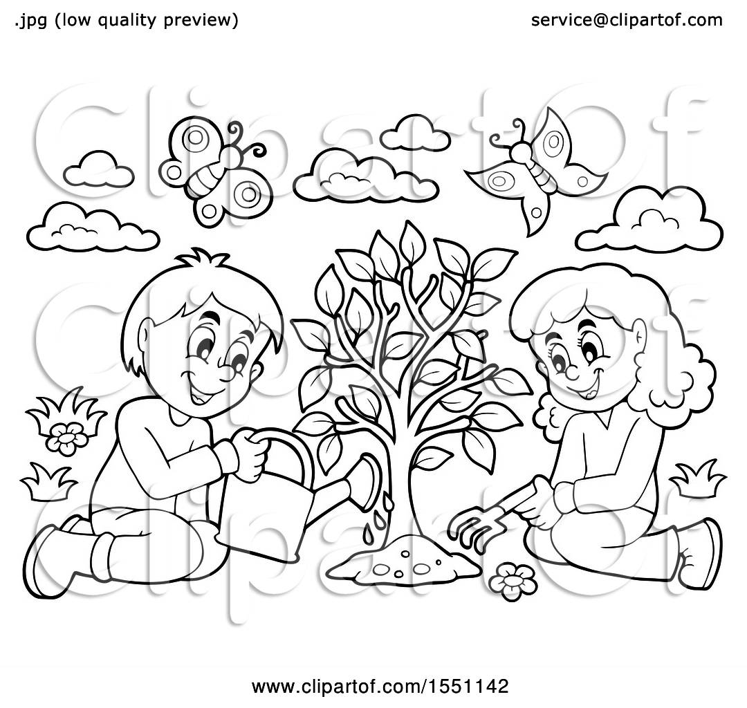 Clipart Of A Lineart Girl And Boy Planting A Tree