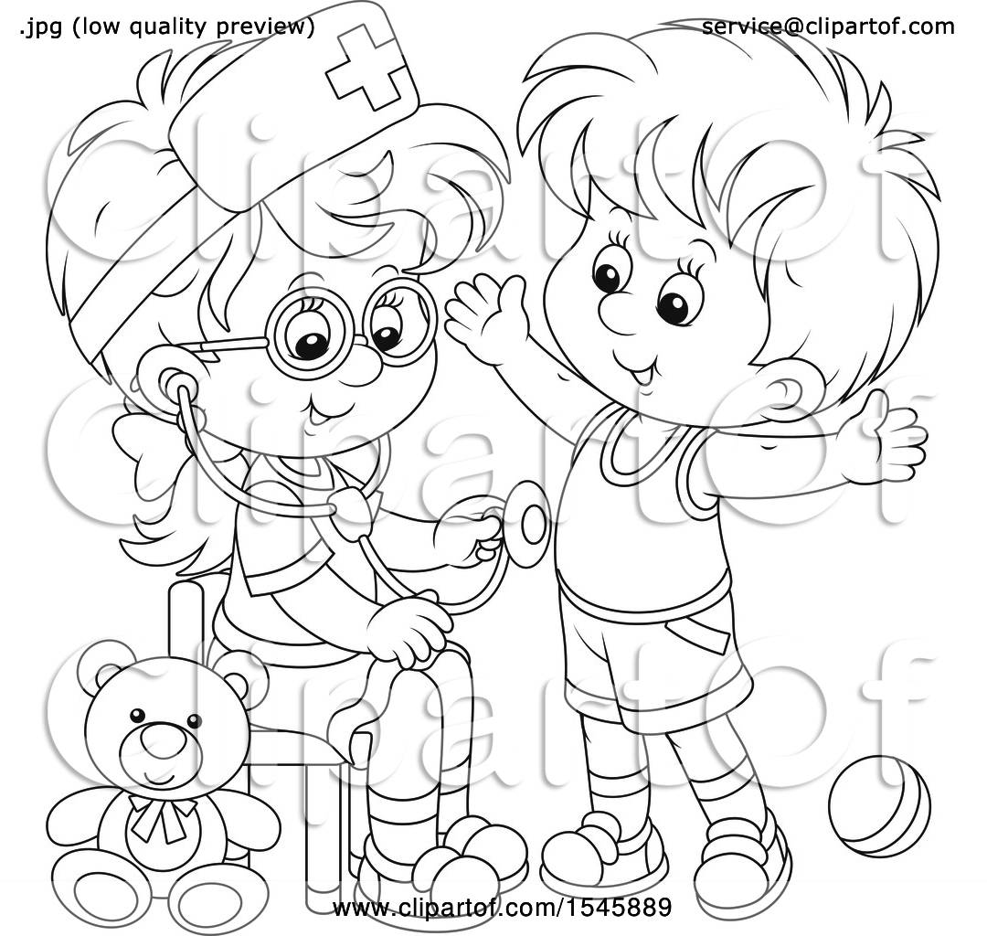 Clipart Of A Lineart Girl Playing Nurse With A Boy