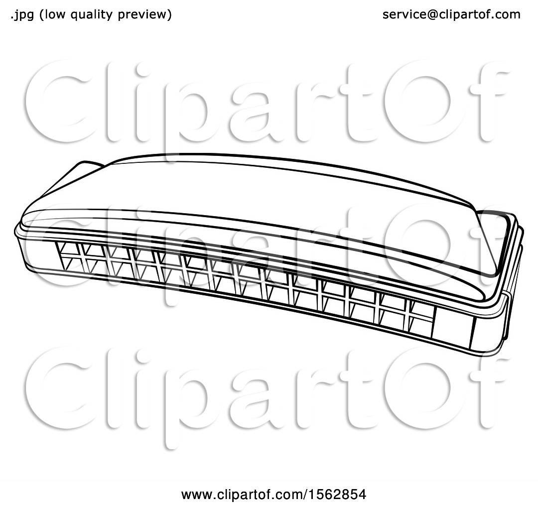 Clipart Of A Lineart Mouth Organ Harmonica