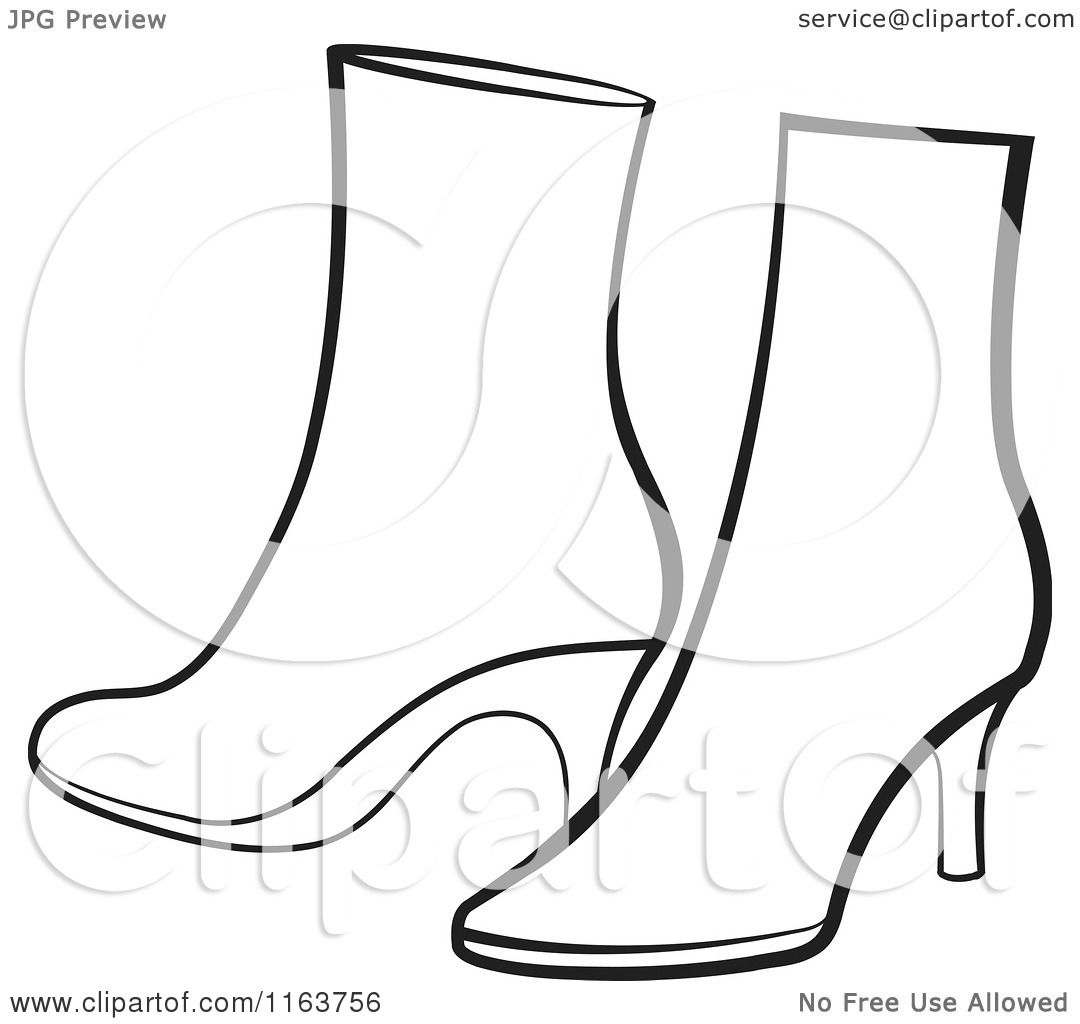 Clipart Of A Pair Of Black And White Womens Boots