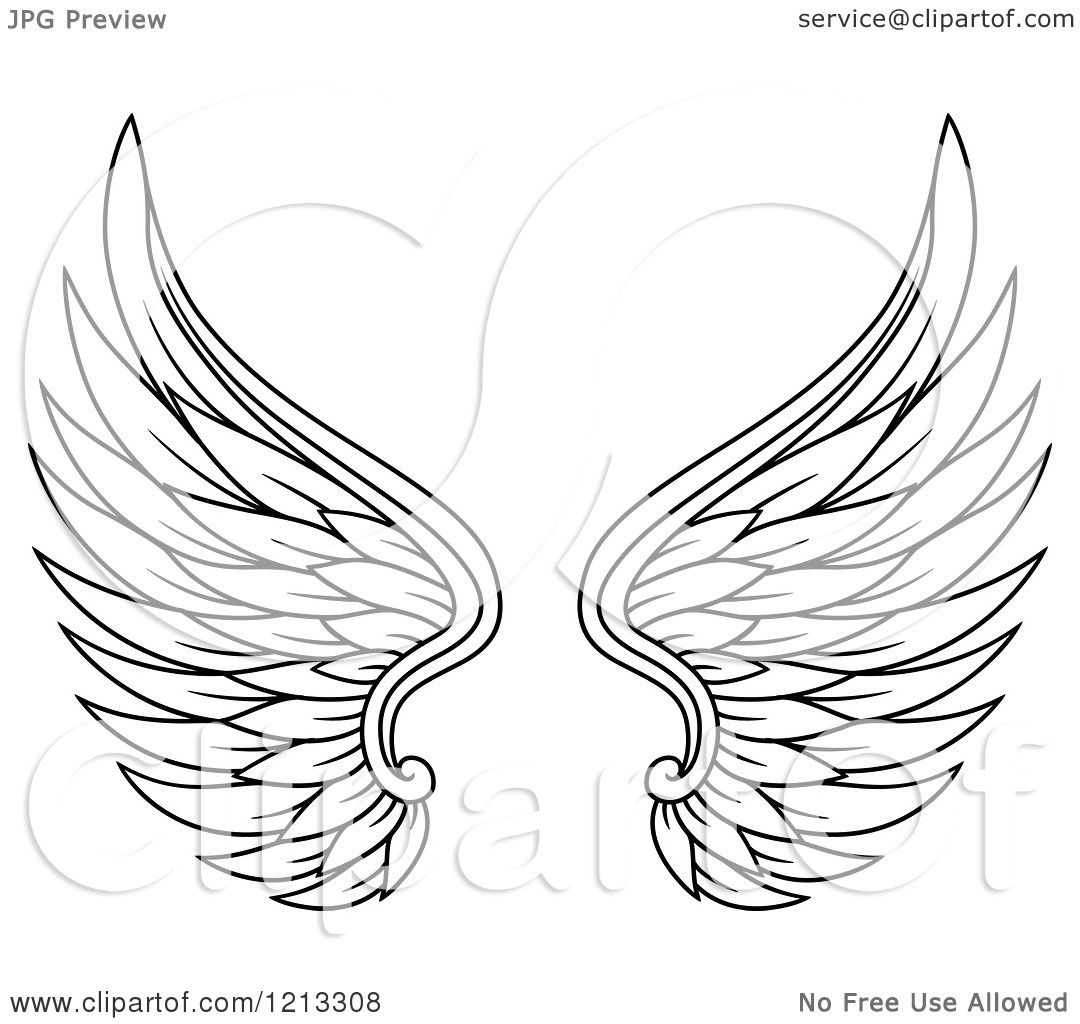 Clipart Of A Pair Of Black Feathered Wings 9