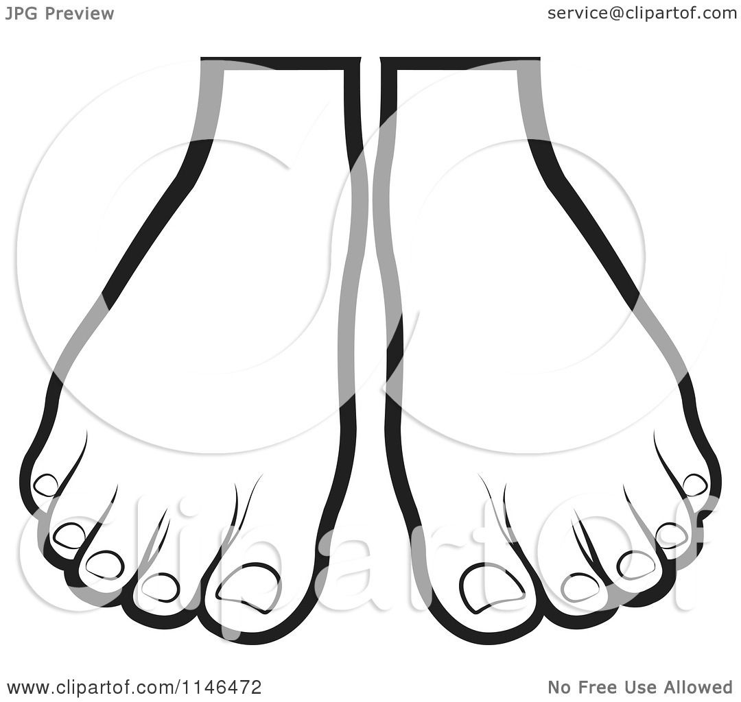 Clipart Of A Pair Of Outlined Feet
