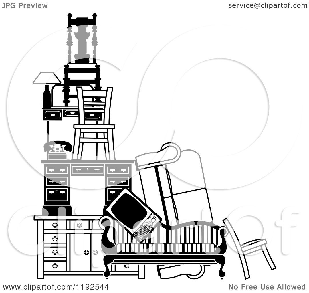 Clipart Of A Pile Of Black And White Furniture And Items