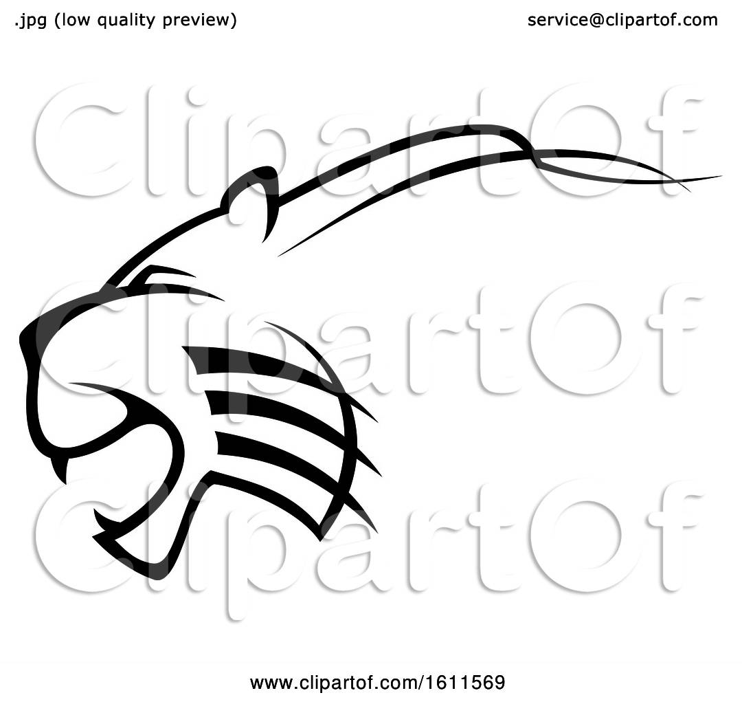 Clipart Of A Profiled Angry Big Cat Mascot