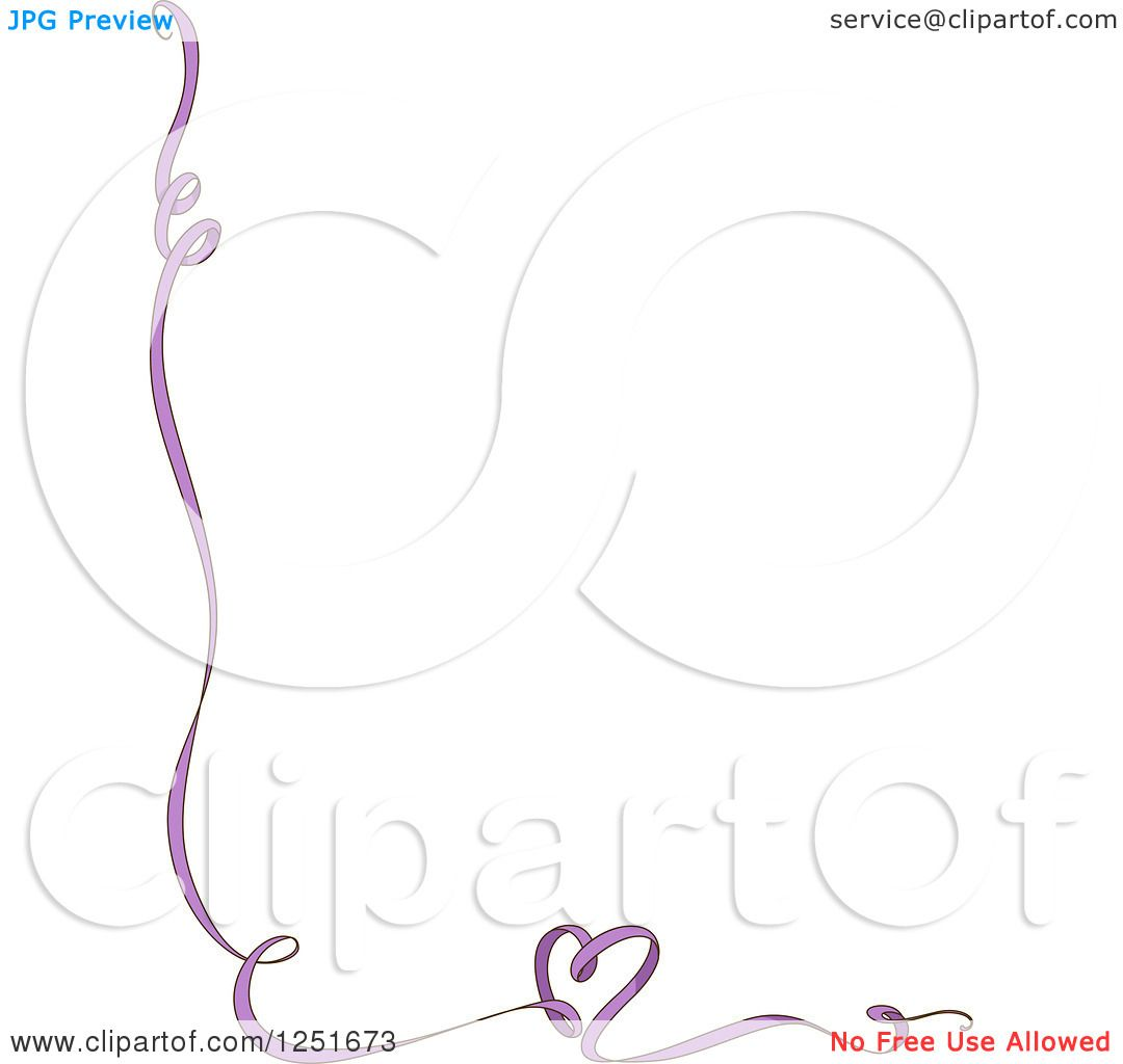 Clipart Of A Purple Ribbon Border With A Heart