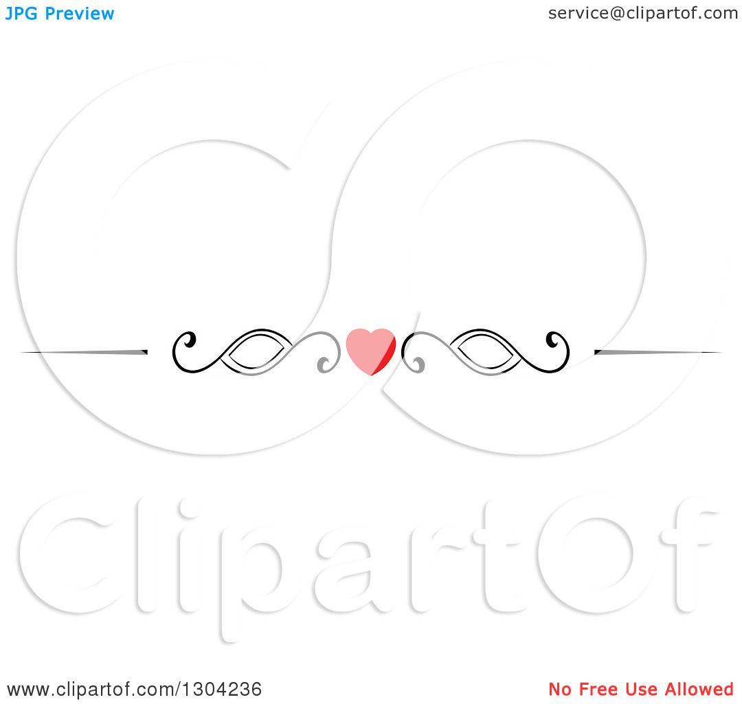 Clipart Of A Red Heart And Black Swirl Border Rule Design