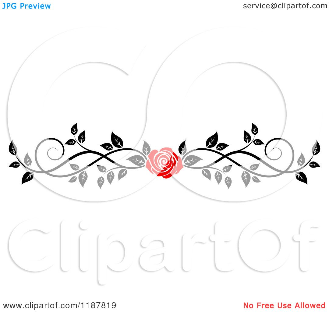 Clipart Of A Red Rose And Black And White Foliage Border