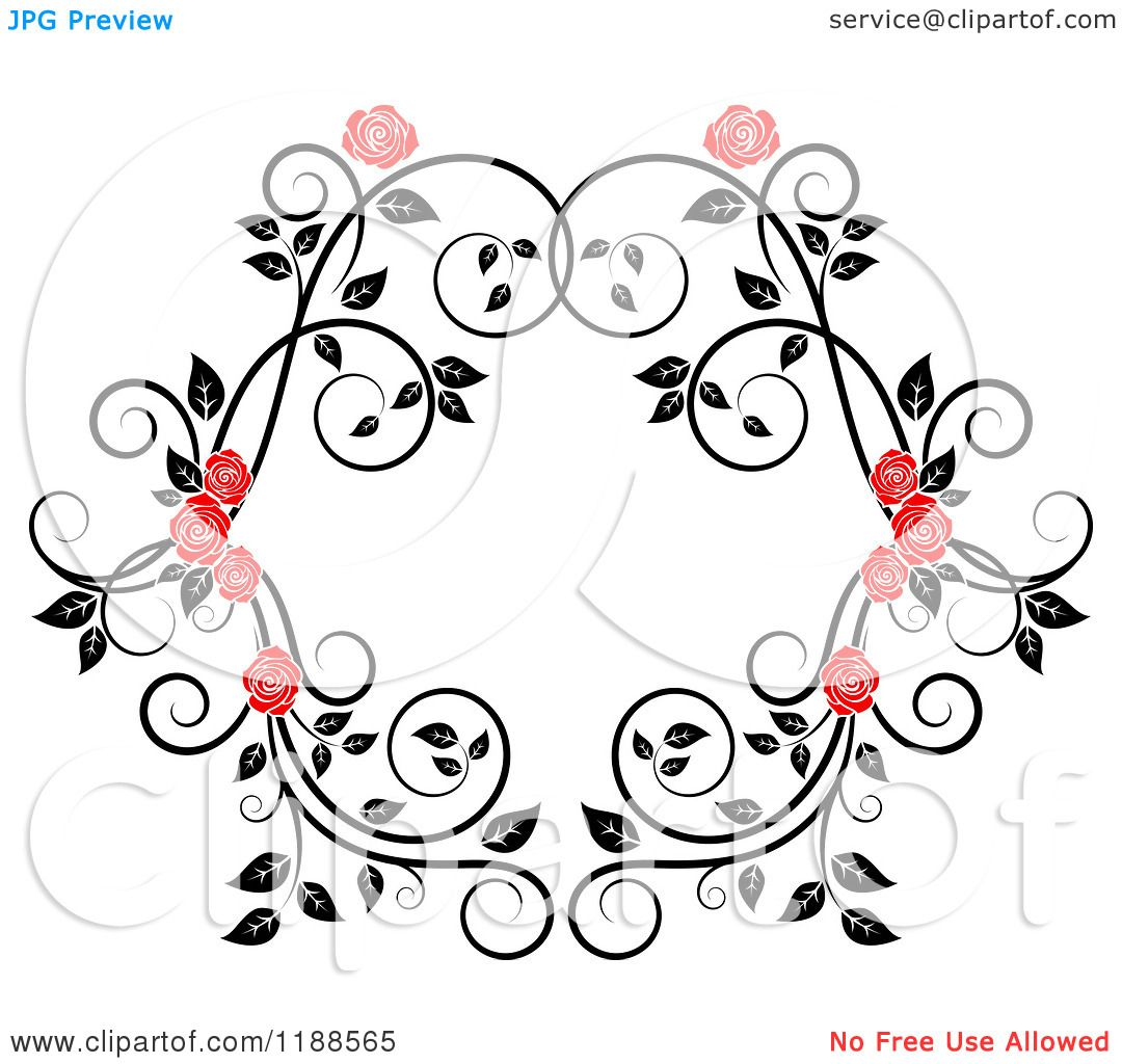 Clipart Of A Red Rose And Black And White Foliage Frame
