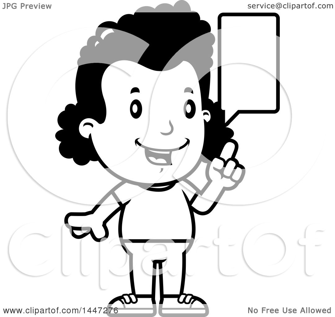 Clipart Of A Retro Black And White African American Girl