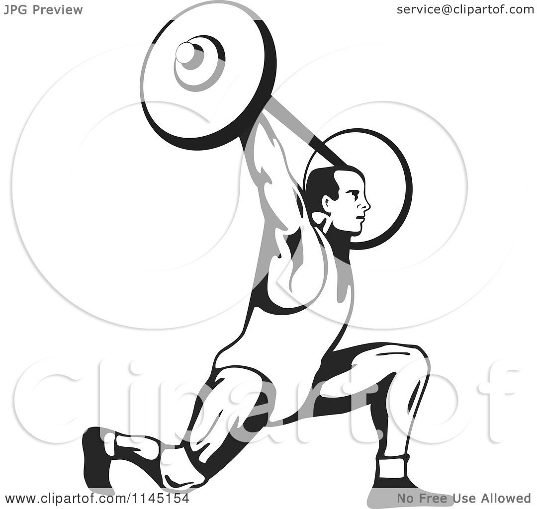 Clipart Of A Retro Black And White Bodybuilder Doing