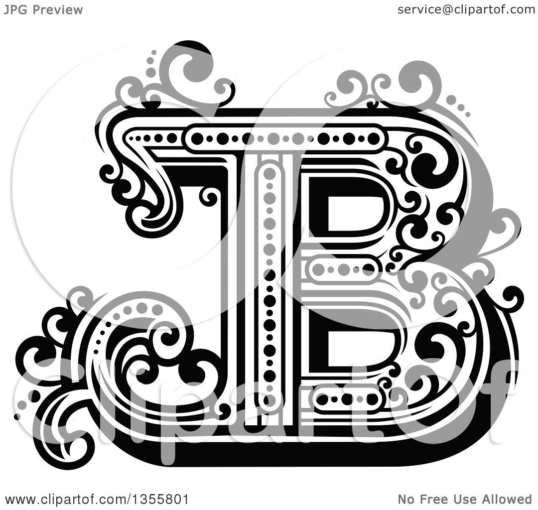 Clipart Of A Retro Black And White Capital Letter B With