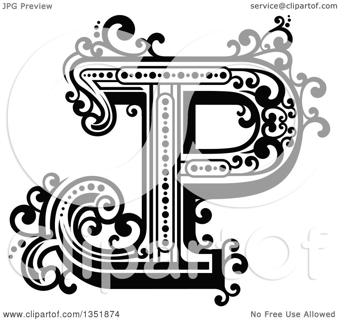 Clipart Of A Retro Black And White Capital Letter P With