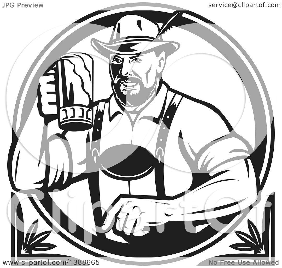 Clipart Of A Retro Black And White German Man Wearing