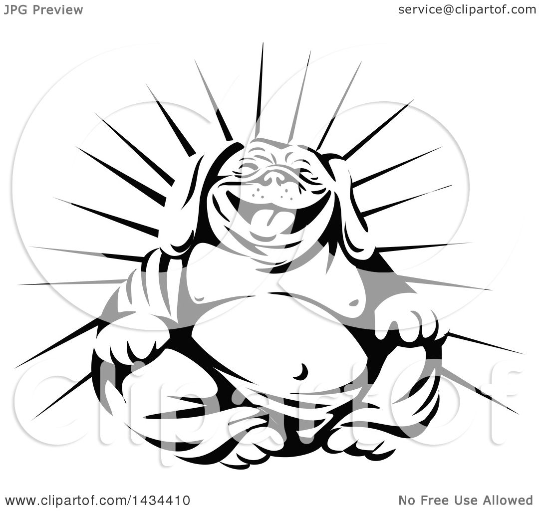 Clipart Of A Retro Black And White Laughing Buddha Bulldog