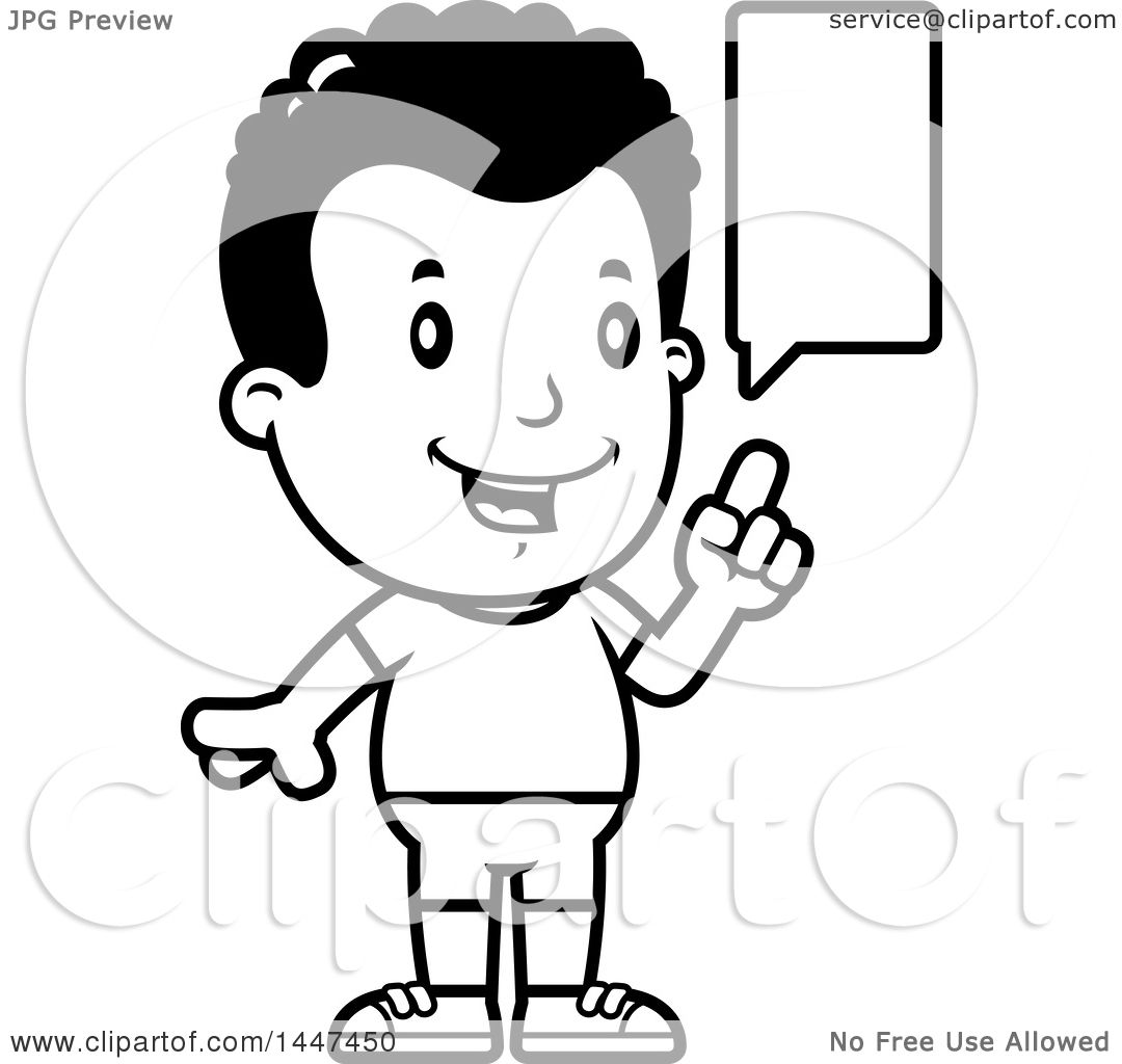Clipart Of A Retro Black And White Talking African