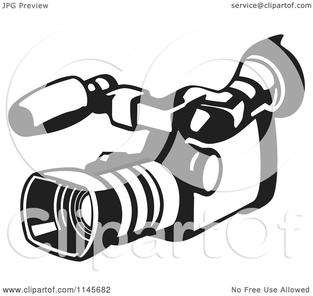 Clipart Of A Retro Black And White Video Camera