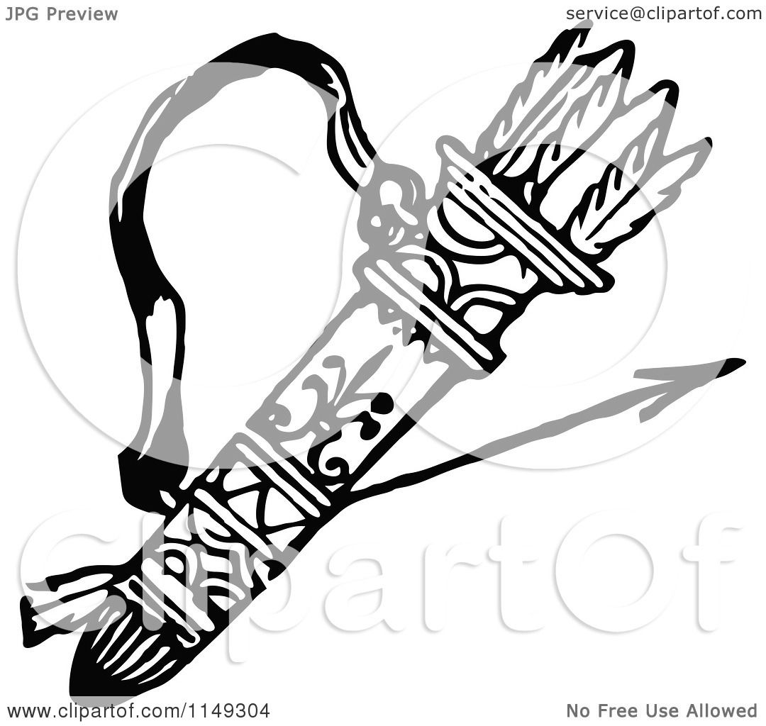 Clipart Of A Retro Vintage Black And White Archery Quiver And