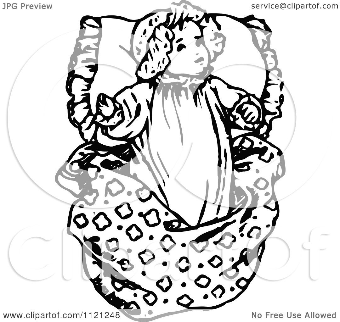 Clipart Of A Retro Vintage Black And White Baby Girl