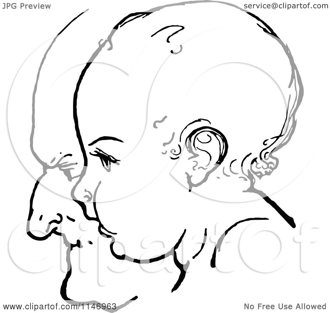Clipart Of A Retro Vintage Black And White Baby Profile Ofer A Grandfathers Face