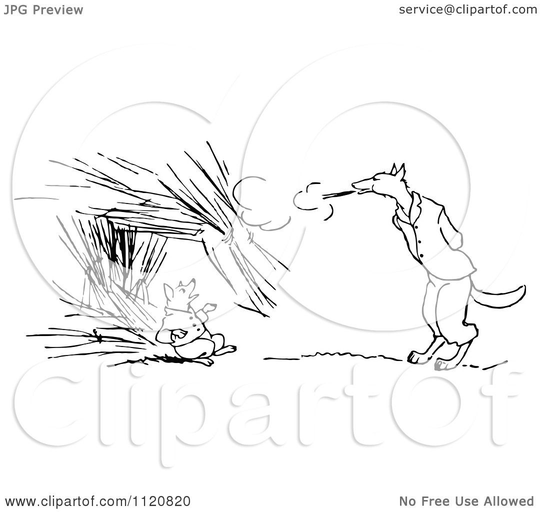 Clipart Of A Retro Vintage Black And White Big Bad Wolf