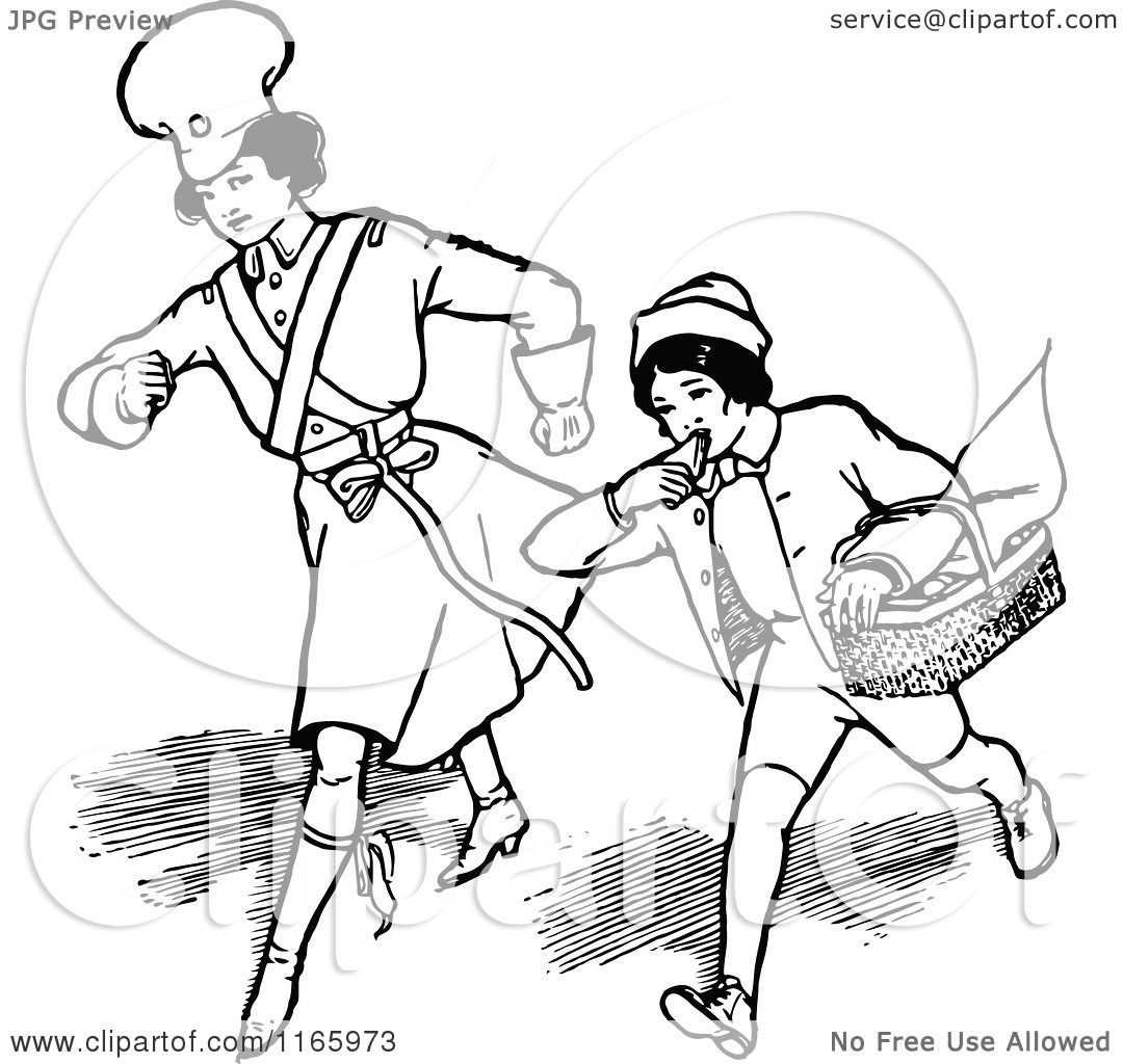 Clipart Of A Retro Vintage Black And White Boy And Girl