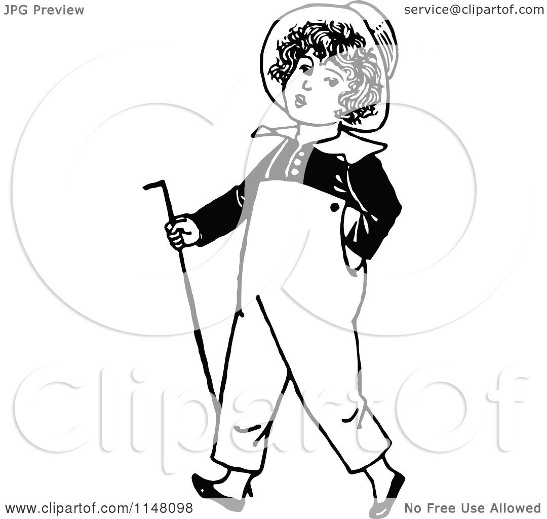 Clipart Of A Retro Vintage Black And White Boy Walking With A Cane