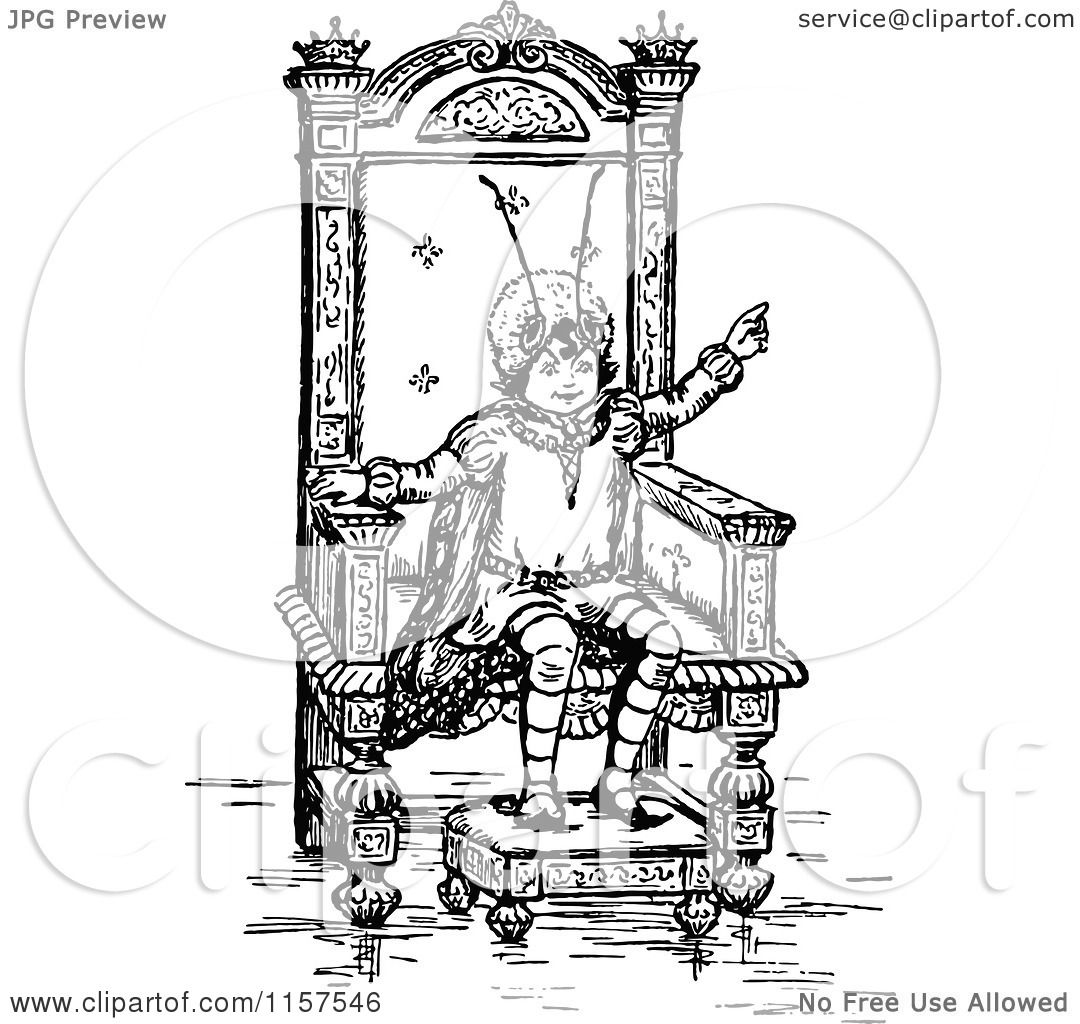 Clipart Of A Retro Vintage Black And White Bug Kid On A Throne