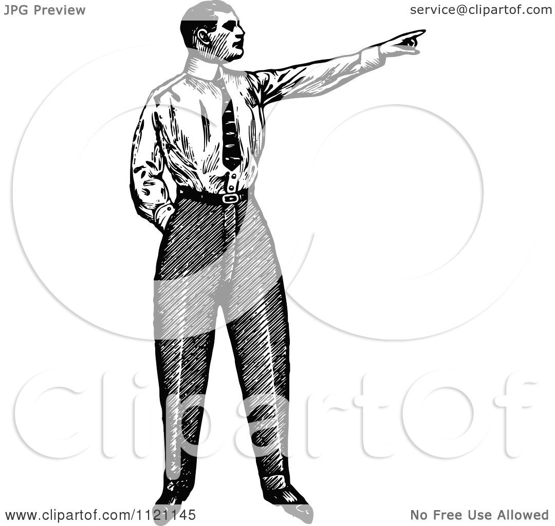 Clipart Of A Retro Vintage Black And White Businessman Pointing