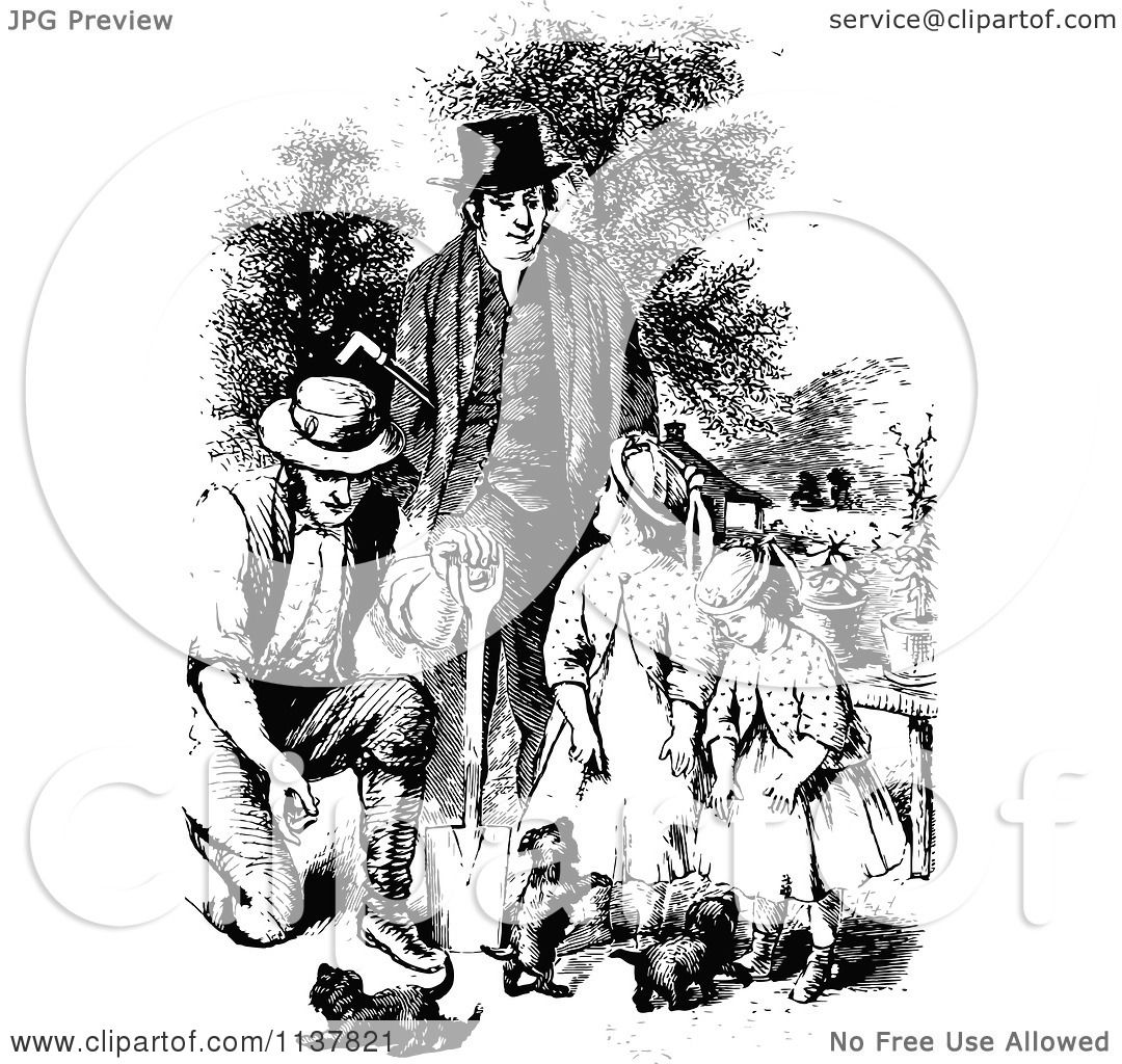 Clipart Of A Retro Vintage Black And White Children And A Litter Of Puppies