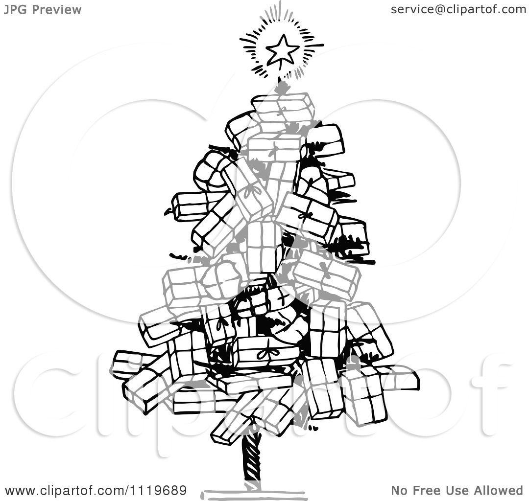 Clipart Of A Retro Vintage Black And White Christmas Tree