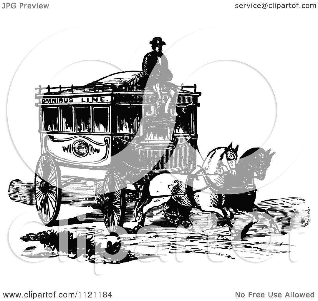 Clipart Of A Retro Vintage Black And White Coachman And