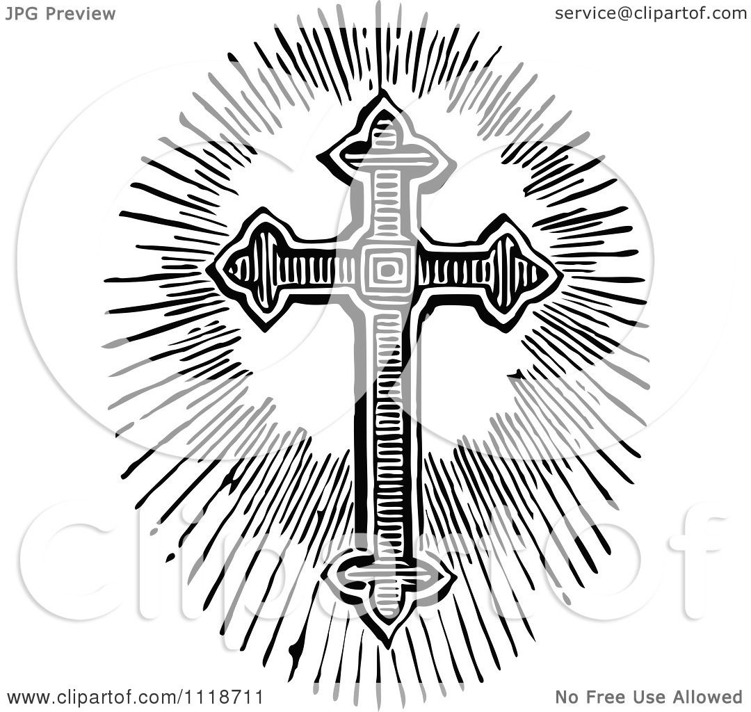Clipart Of A Retro Vintage Black And White Cross And Light