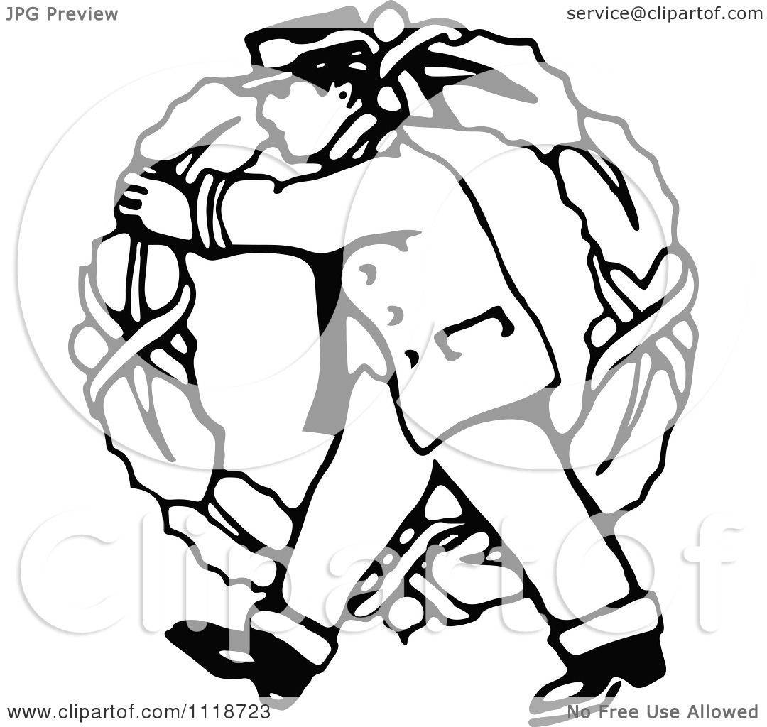 Clipart Of A Retro Vintage Black And White Delivery Man