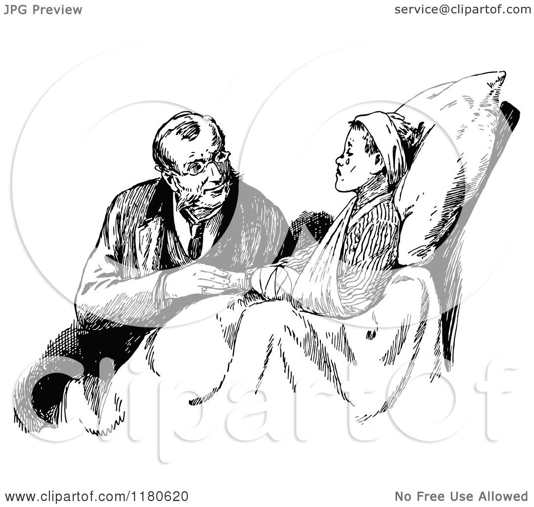 Clipart Of A Retro Vintage Black And White Doctor And