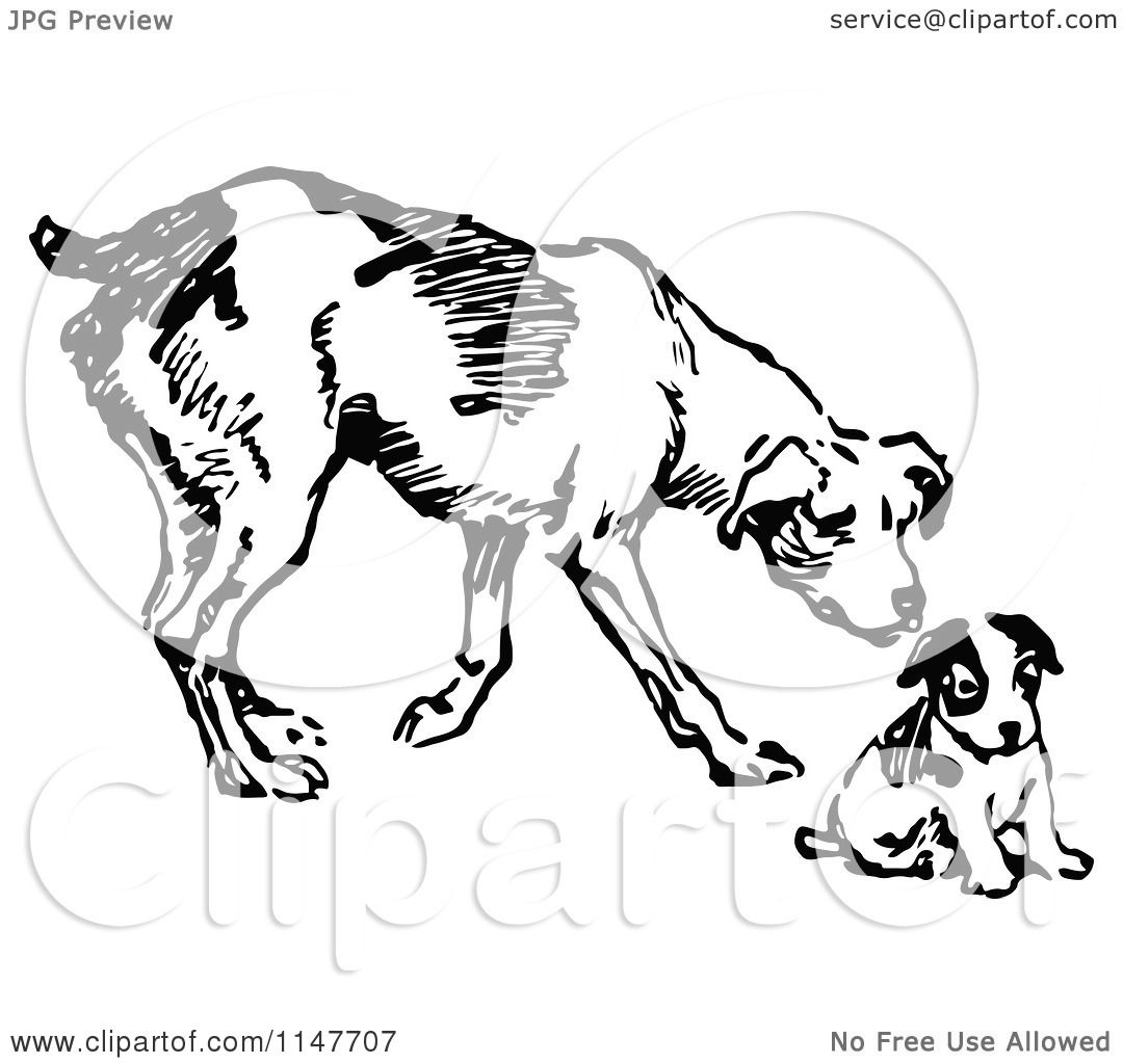 Clipart Of A Retro Vintage Black And White Dog And Puppy