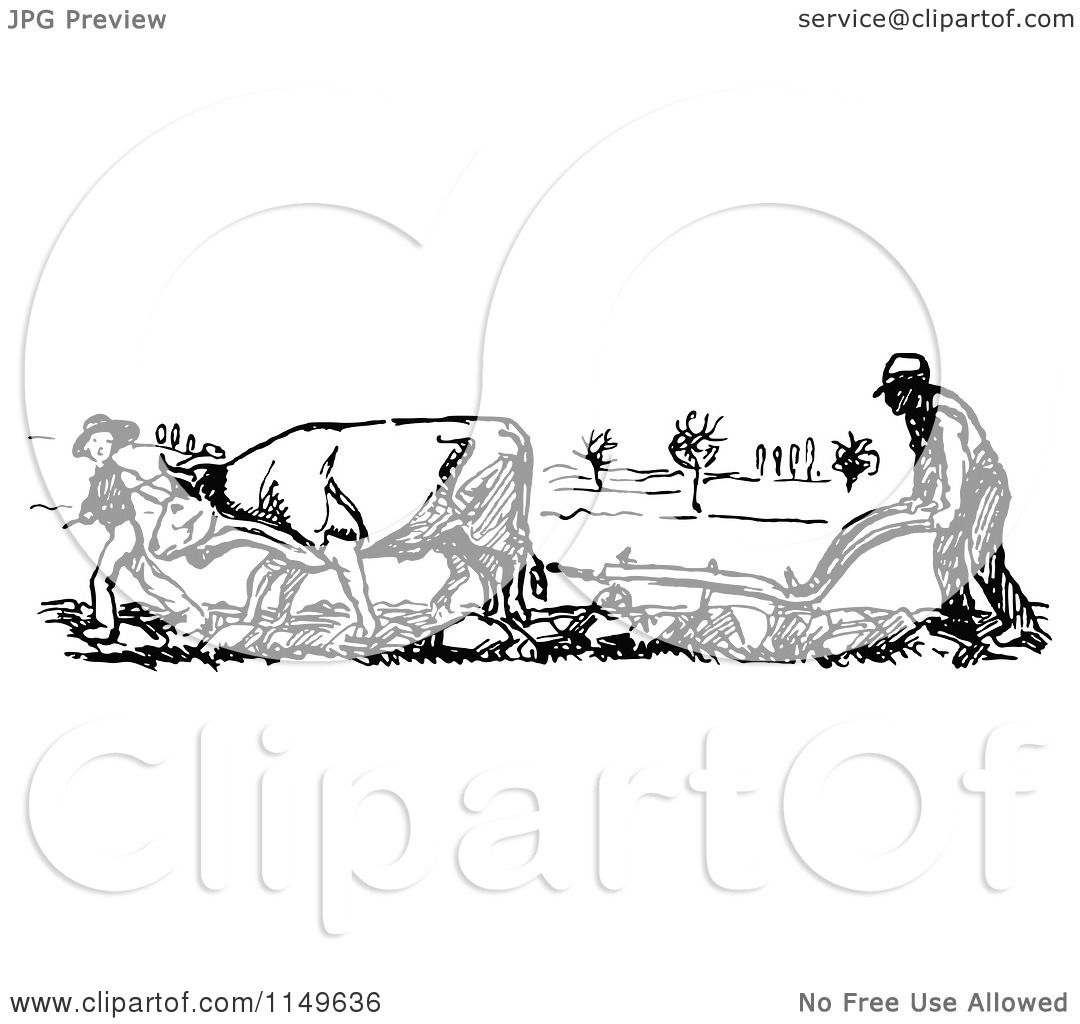 Clipart Of A Retro Vintage Black And White Farmer And Cow