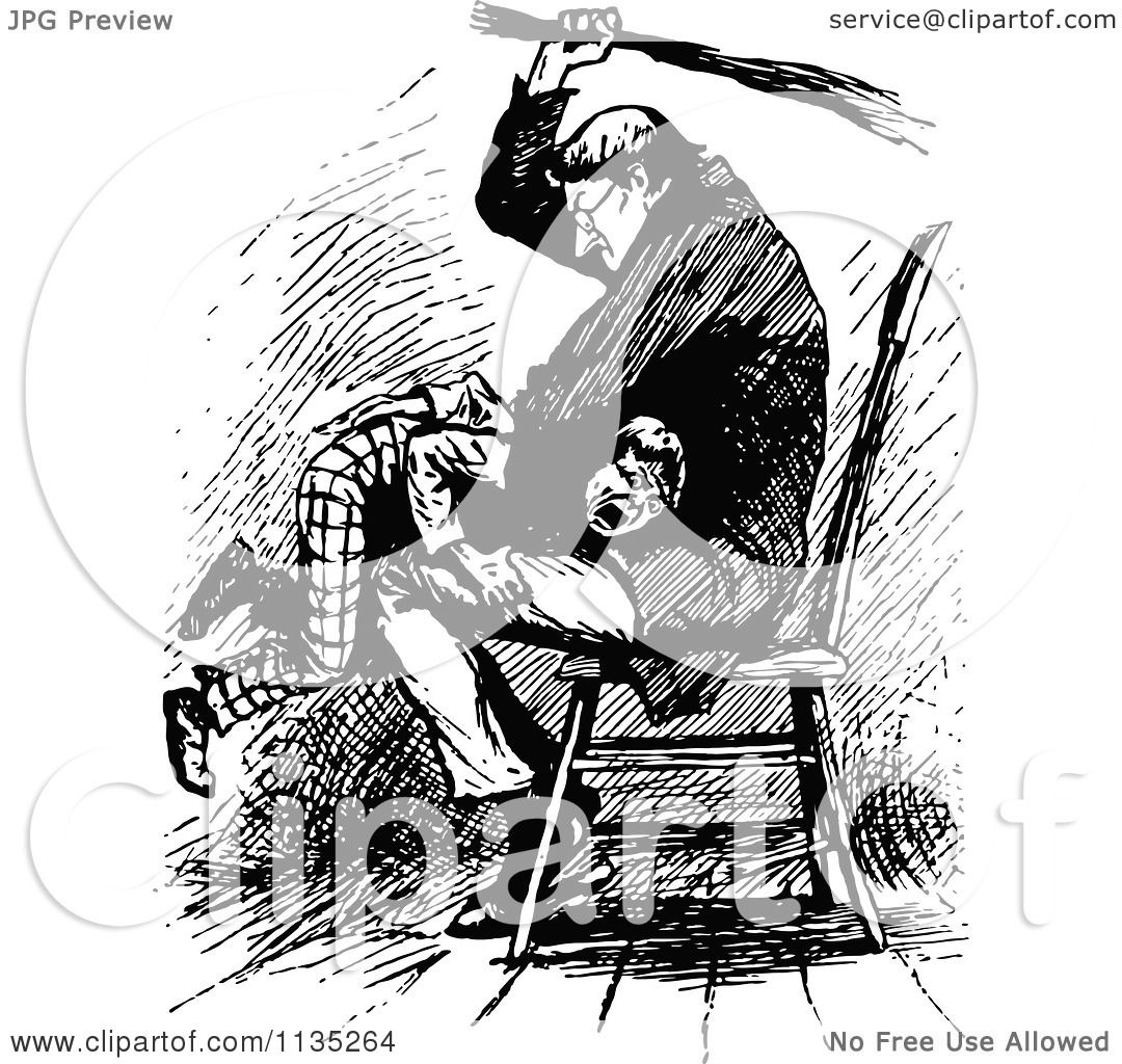 Clipart Of A Retro Vintage Black And White Father Spanking