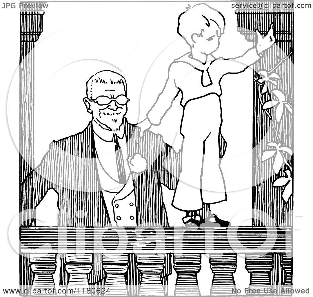 Clipart Of A Retro Vintage Black And White Father With His