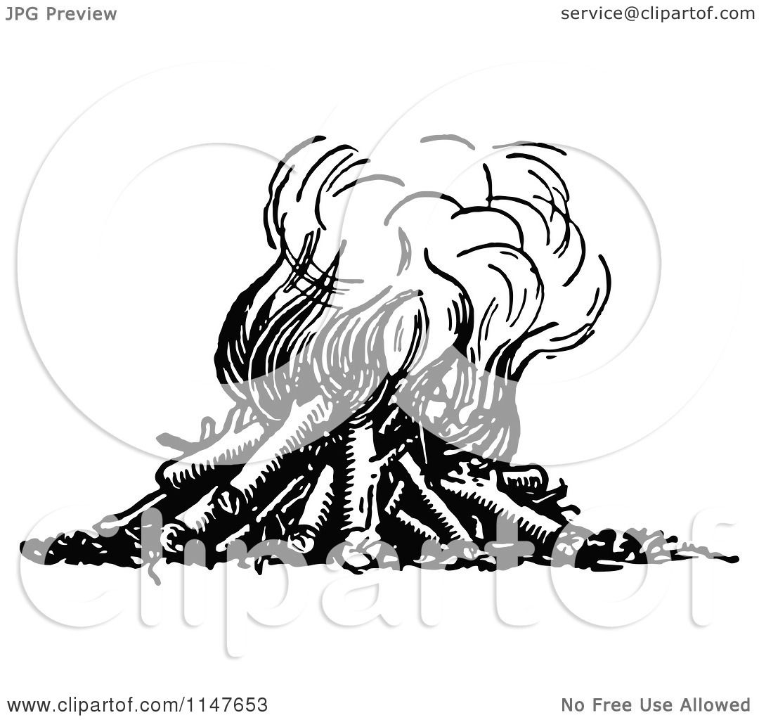 Clipart Of A Retro Vintage Black And White Fire With Logs