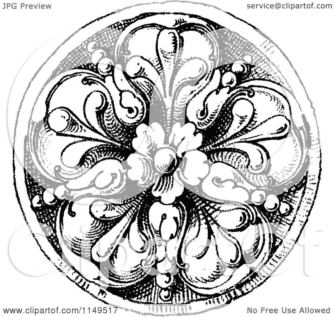 Clipart Of A Retro Vintage Black And White Floral