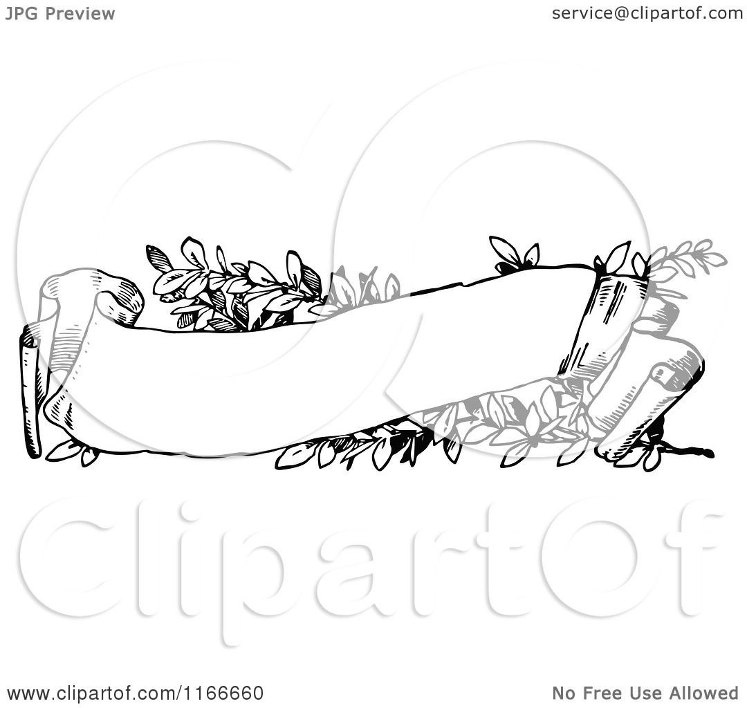 Clipart Of A Retro Vintage Black And White Floral Scroll