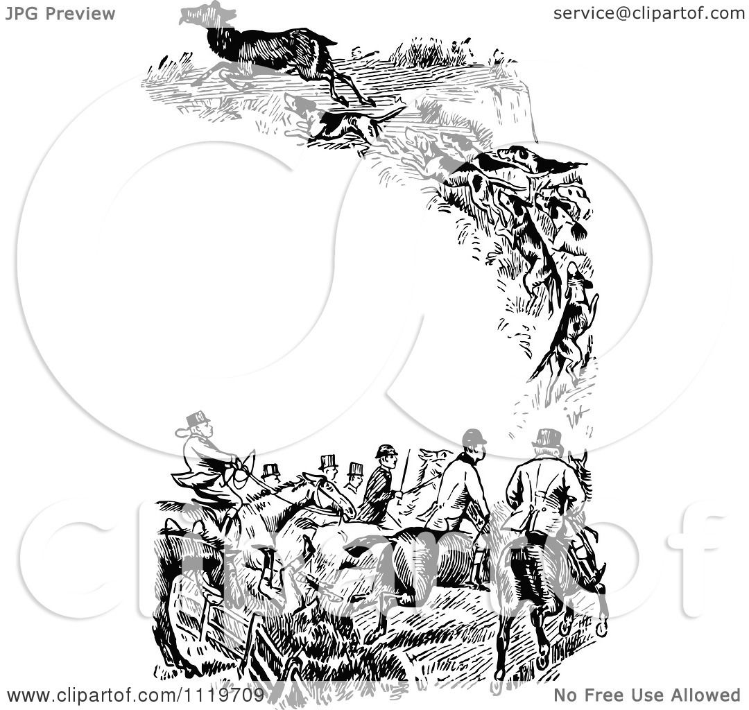 Clipart Of A Retro Vintage Black And White Fox Hunting