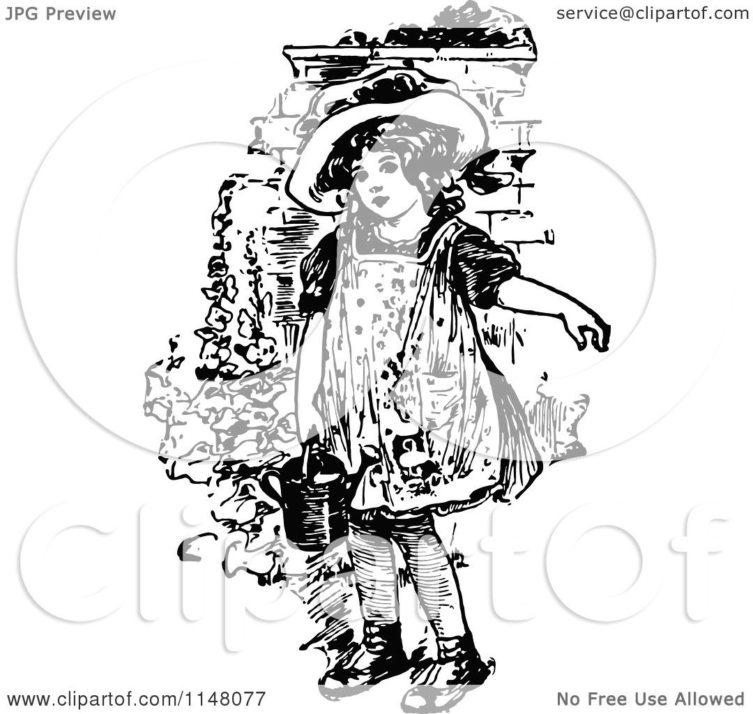 Clipart Of A Retro Vintage Black And White Girl Holding A