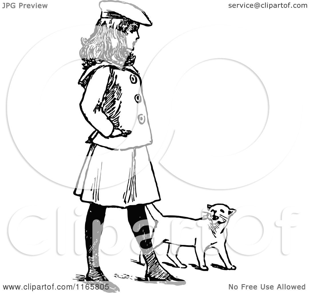 Clipart Of A Retro Vintage Black And White Girl Walking