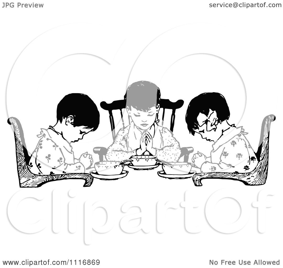 Clipart Of A Retro Vintage Black And White Girls Praying