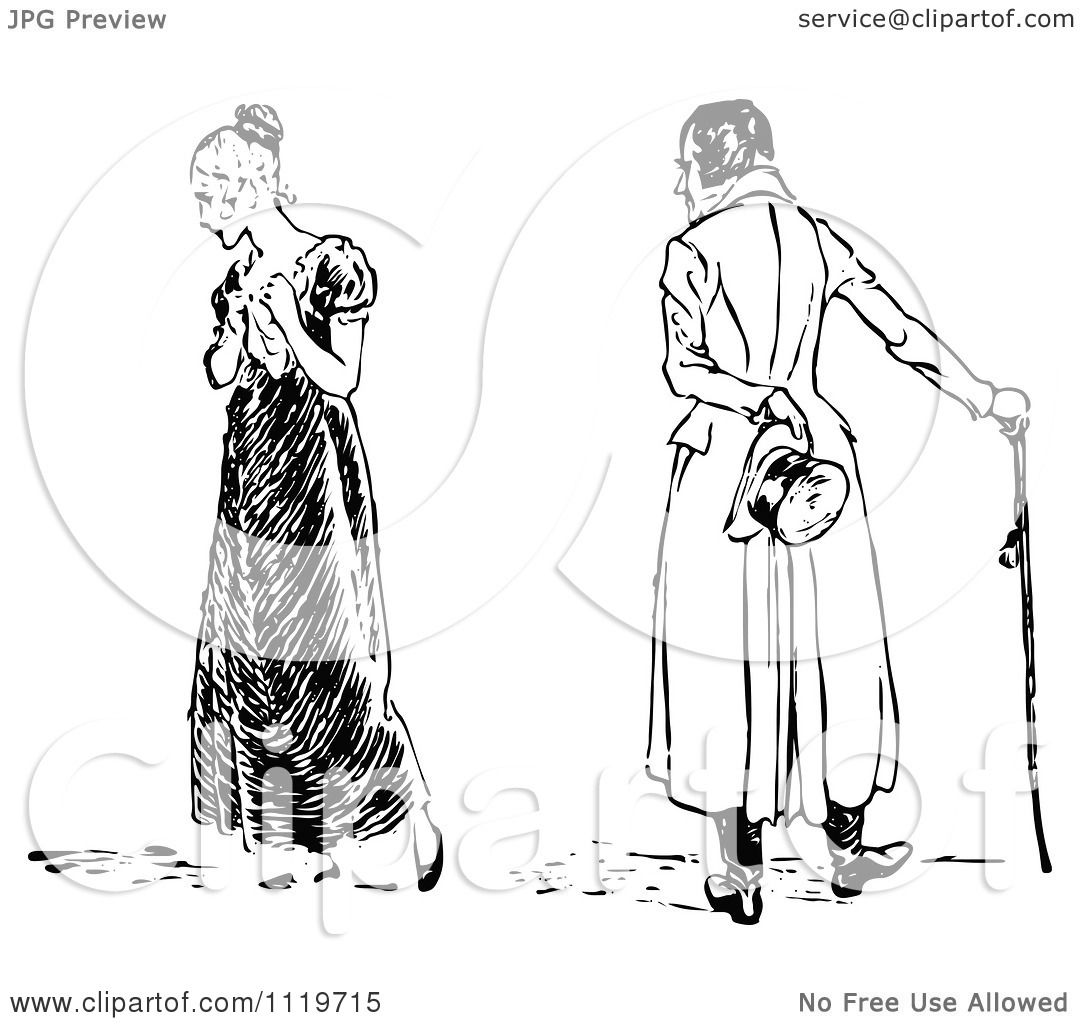 Clipart Of A Retro Vintage Black And White Heart Broken Woman And Man