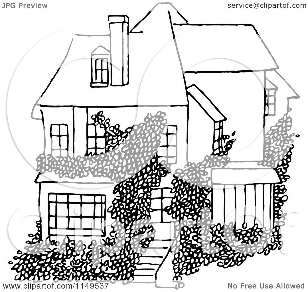 Clipart Of A Retro Vintage Black And White House And Vine