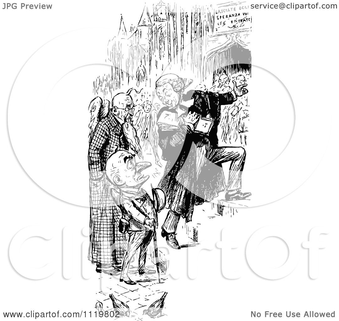 Clipart Of A Retro Vintage Black And White Judge And Grim