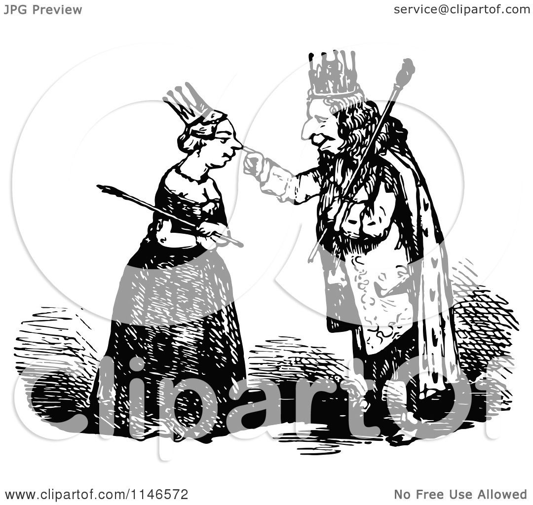 Clipart Of A Retro Vintage Black And White King Touching A