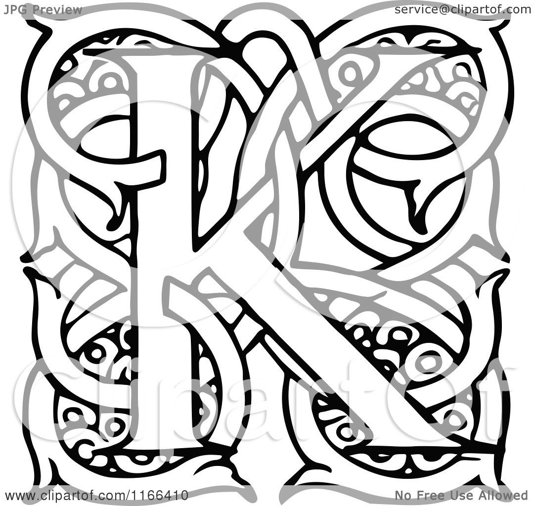 Clipart Of A Retro Vintage Black And White Letter K With